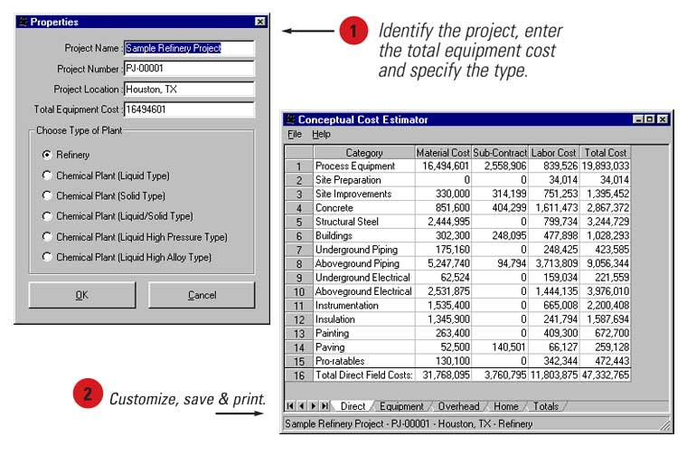 Conceptual Cost Estimator Screen Captures